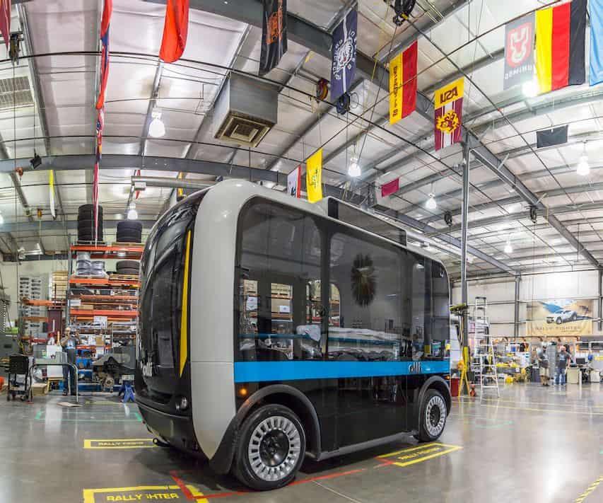 Self-Driving Shuttle Built on Giant 3D Printer