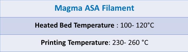 setting ASA Filament