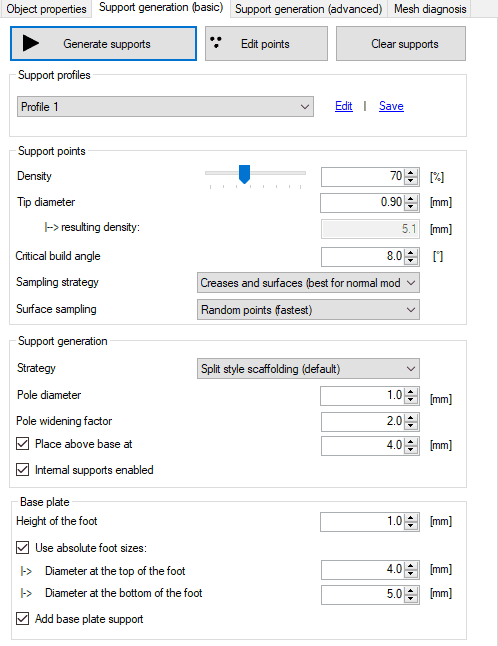 Support settings